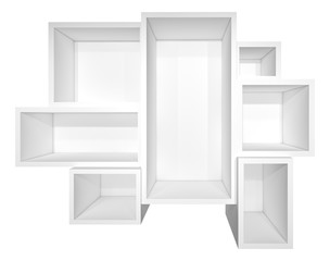 Illuminated white shelf for presentations