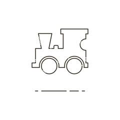 Toy locomotive thin line icon. Mbe minimalism style