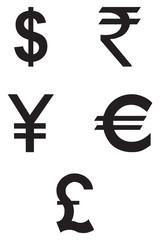 Currency Icons Set. Vector flat design