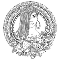 Vector illustration zentangl, mulatto woman with braids African in the floral round frame. Doodle. Coloring book anti stress for adults. Black and white.