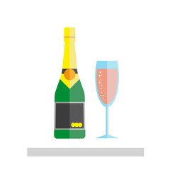 Champagne glass and bottle isolated on white background.