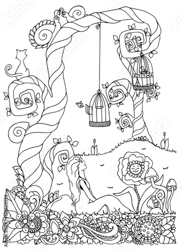 Vector illustration zentangl girl sitting near a tree Coloring books for adults near me