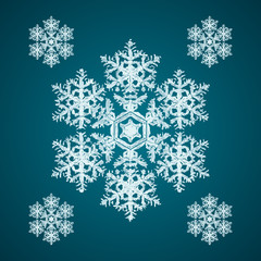 Snoflake_43 Christmas element: opaque crystal snowflakes on a dark turquoise background.
