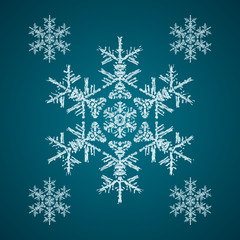Snoflake_65 Christmas element: opaque crystal snowflakes on a dark turquoise background.