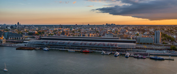 View at the Amsterdam Skyline during sunset