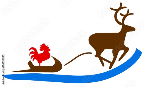 christmas illustration deer driven sleigh with a red. Black Bedroom Furniture Sets. Home Design Ideas