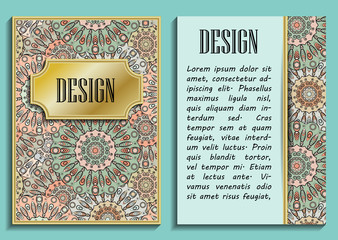 Card or invitation in oriental style with eastern floral mandalas ornament. Islam, Arabic, Indian, ottoman, chinese, japanese motifs in gold colors