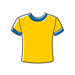 Blank yellow t-shirt vector icon isolated.