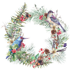 Vintage Christmas Wreath, New Year Decoration