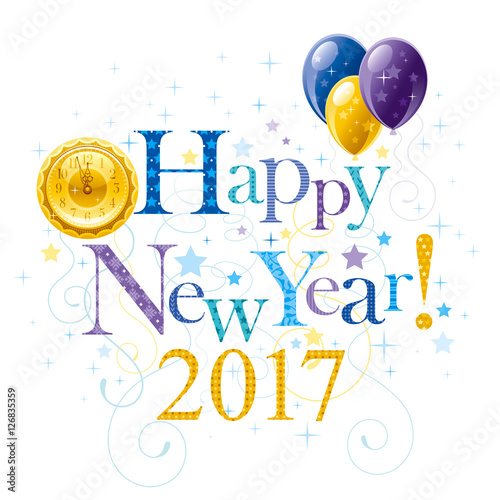 Happy New Year 2017 Blue Golden Logo Icon Vector Poster With Clock