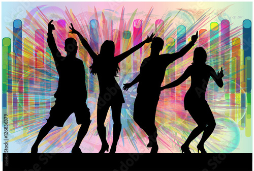 "Silhouette Dance Music Abstract Background: ""Dancing People Silhouettes. Abstract Background"