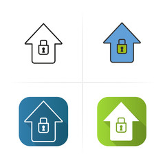 Home security icon. Isolated vector illustrations