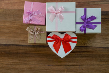 gift box on white table. colorful gifts box.