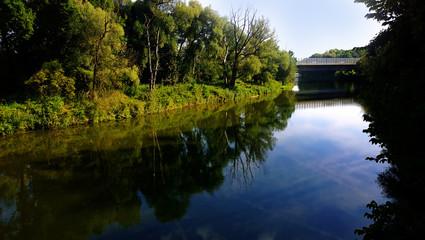 Bavaria, Germany Isar river waterfront and bridge