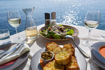 Table with food and wine