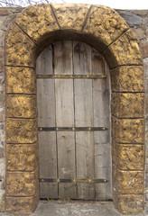 renovated old door, gothic wooden doors,