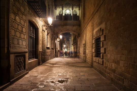 Street in Gothic Quarter of Barcelona by Night