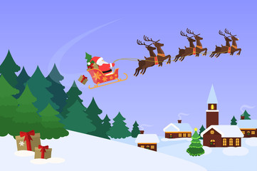 Christmas landscape with Santa Claus flying on a sleigh