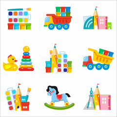 Toys kids. Set of vector icons. The development and education of children
