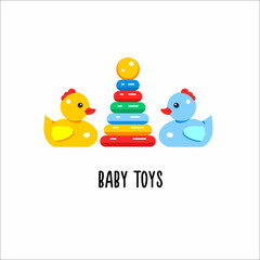 Toys kids. Vector logo, symbol. The sign for the toy store, kindergarten