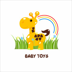 Toys kids. Vector sign, the logo for the toy store. Giraffe toy on the grass.