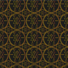 Seamless pattern with coins. Golden mystical symbols on black background. Abstract occult ornament.