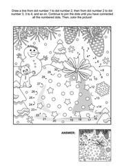 New Year or Christmas themed connect the dots picture puzzle and coloring page with Santa's sack. Answer included.