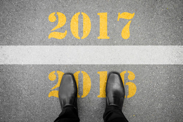 Shoes standing at new year 2017 line Fotomurales