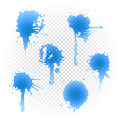 Blue ink blot collection isolated on transparent background