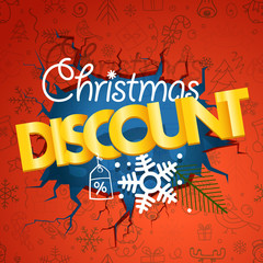 Winter season discount banner. Christmas discount concept with d