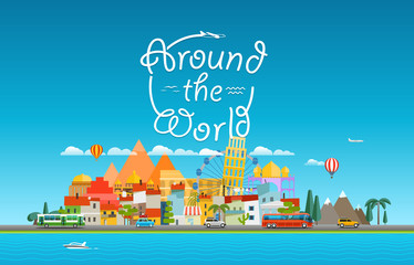 Around the world travelling concept. Asia cityscape Vector trave