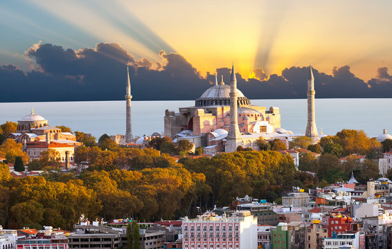 Hagia Sophia in Istanbul. The world famous monument of Byzantine architecture. View  the St.  Cathedral at sunset.