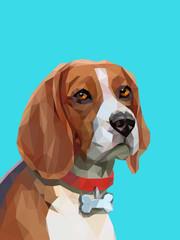 Low poly portrait of beagle dog.