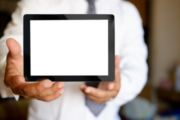 Businessman Hand Showing Blank Screen Tablet.