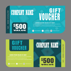 Blank of gift voucher vector illustration to increase sales on green and turquoise background.