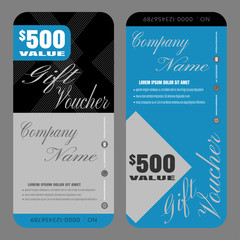 Gift voucher vector illustration to attract new customer on blue and black background.