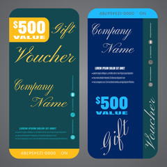 Gift voucher vector illustration to increase sales on dark blue and turquoise background.
