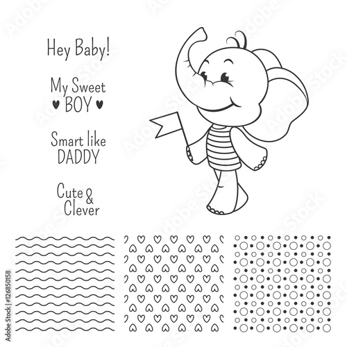 Baby boy elephant outline design set with seamless patterns