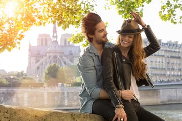 Young couple visiting paris