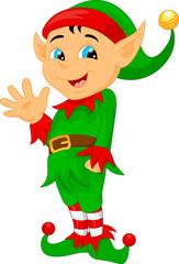 cute cartoon elf waving