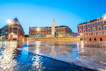 Tuinposter Nice The Fontaine du Soleil on Place Massena in the Morning, Nice, France