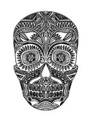 Vector Skull Illustration on white background, for tattoo