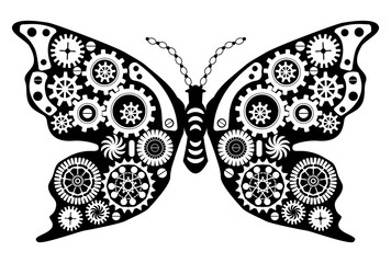 Steampunk butterfly. Fantastic insect in vintage style for tattoo, sticker, print and decorations.