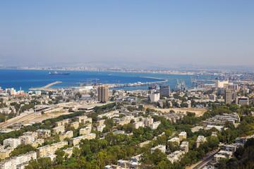Panoramic view of the Haifa and sea port