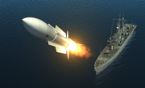 Missile Launch From A Warship On The High Seas