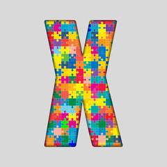 Vector Color Puzzle Piece Jigsaw Letter - X.