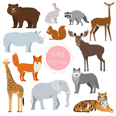 Set with wild animals. Fox, rhino, elephant, bear isolated on white background. Vector illustration