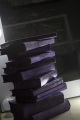 stack of violet books