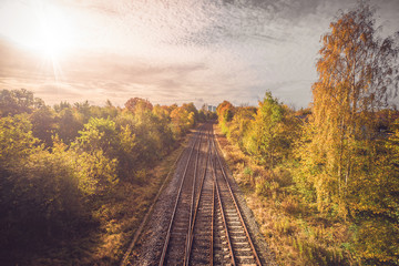 Railroad in autumn going to the city
