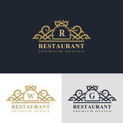 Monogram design elements, graceful template. Calligraphic elegant line art logo design. Letter emblem sign R, W, G for Royalty, business card, Boutique, Hotel, Heraldic, Jewelry. Vector illustration